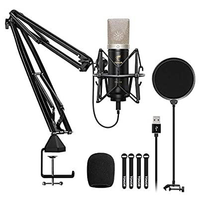 TONOR USB Microphone Kit, Recording Microphone 24mm Large-Diaphragm 192kHz/24Bit Plug & Play Condenser Computer Mic for Podcast, Game, YouTube Video, Stream, Voice Over, TC-2030