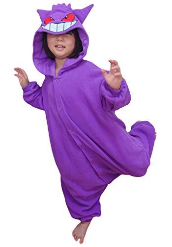 SAZAC Kigurumi - Pokemon - Gengar - Onesie Jumpsuit Halloween Costume -Kids Size (5-9 Year Old) Purple