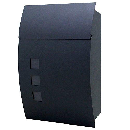 LZQ Elegantem Arc Design Edelstahl Briefkasten, Wandbriefkasten mit Zeitungsfach, A4 Einwurf-Format, mit Sichtfenstern, Abschließbar mit 2 Schlüssel (C Type)