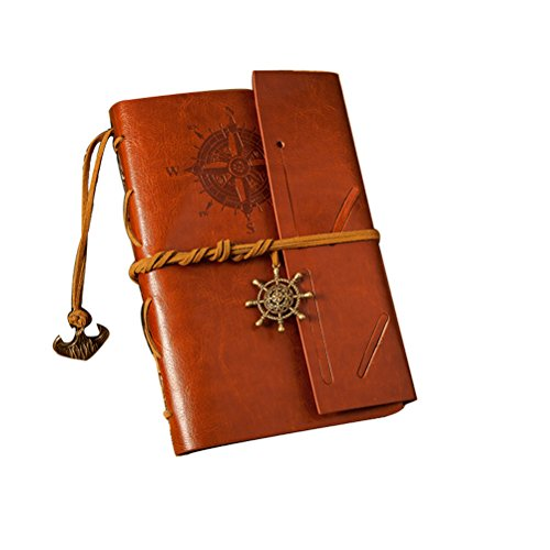 ULTNICE Classic Vintage Anchor Pattern PU Leather Cover Notebook Travel Diary Sketchbook Brown