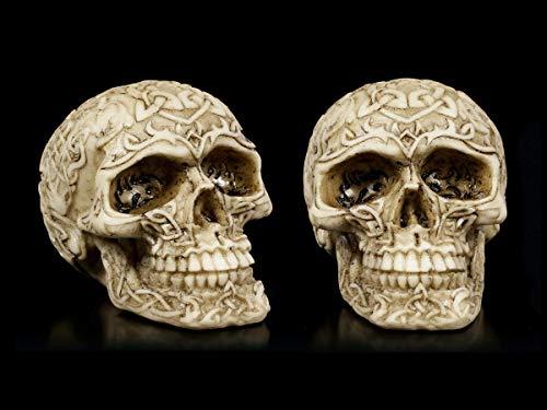 Figuren Shop GmbH Keltische Gothic Totenköpfe - 2er Set | Skull, Schädel, handbemalt, H 7 cm