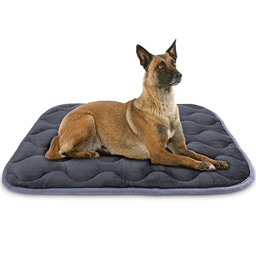 AIPERRO Dog Bed Crate Pad Soft Plush Kennel Cushion Mat Machine Washable Anti-Slip Pet Bed for Small Medium Large Dogs and Cats Sleeping, 42 x 27 Inch