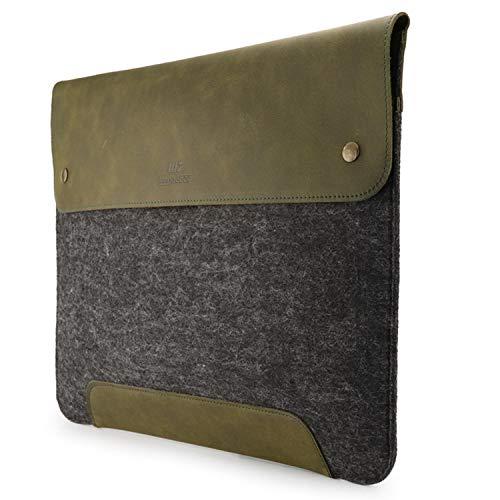 MegaGear Funda de Piel y Forro Polar para MacBook de 15 y 16 Pulgadas, Color Verde