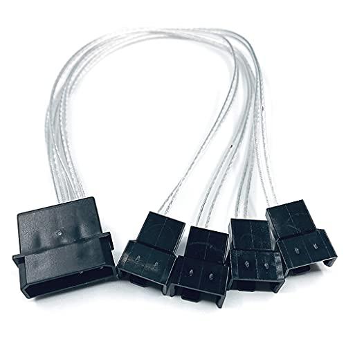YOURPAI Cable Molex de 4 pines,Y-Splitter de 4 pines Molex macho a 1 2 3 4 3 pines/4 pines PWM macho conector adaptador de extensión de ventilador Cable plateado transferencia 4 pequeñas 4P