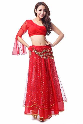 MBW Belly Dance Bauchtanz Kostüm Damen Komplett Set 5 tlg rot Hüfttuch 128 goldfarbenen Münzen, 34 -38, Rot