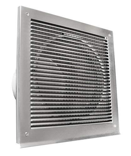 Extérieur Air grille algres 125 acier inox 210 x 210 avec embout pour tuyau DIN Ø 125 mm