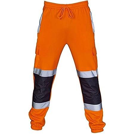 shelikes Mens Hi Vis Viz Two Tone Jogging Bottoms Combat Trousers Workwear Joggers