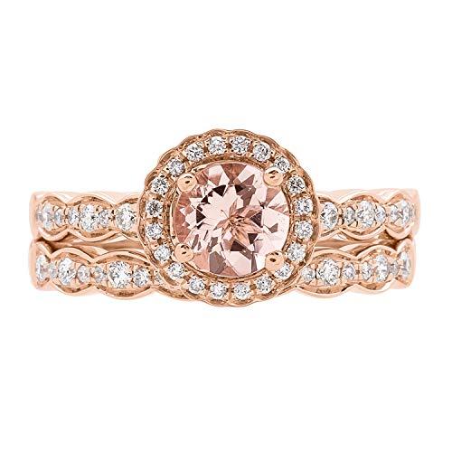 Gin & Grace Oro de 14K Rose genuino Aguamarina Diamante (I1, I2) (tamaño 7) Proponer la promesa anillo para las mujeres