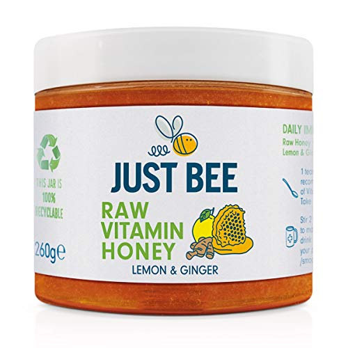 Just Bee Raw Vitamin Lemon and Ginger Honey, Natural Honey with Vitamins, Including Vitamin C, B6, B12, Echinacea (260g jar)