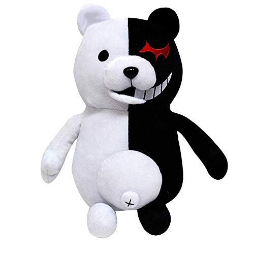 APRILALEX Kids Black White Bear Plush Doll Monokuma Bear 36cm for Kids Birthday Child Pillow Toy Home Decor Adornment(25cm)