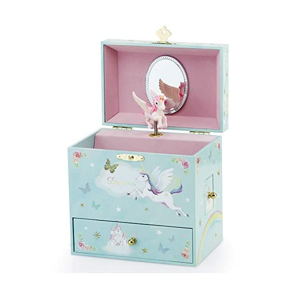 RR ROUND RICH DESIGN Kids Musical Jewelry Box for Girls with 3 Drawers and Jewelry Set with Magical Unicorn - Blue… 4