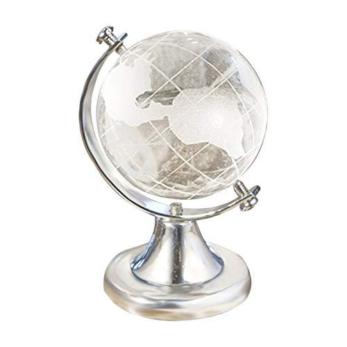 Ornements d'artisanat de bureau PC de bureau Ornement Salon Souvenir cristal Globe de la terre Boule en verre avec la carte du monde cadeau d'anniversaire Chambre Home Decor Bureau, maison, salon
