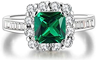 Ring for women green crystals Size 8