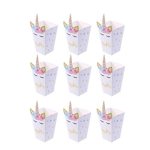 Toyvian Cajas de Palomitas Bolsas Palomitas Arco Iris Unicornio Caja Cartón de Caramelo Contenedor de maíz Unicornio para niños Fiesta de cumpleaños - Pack of 12