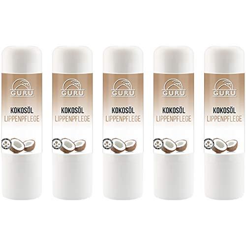 Guru Kiss Lippenpflege 5 Stk Naturkosmetik aus Bio Kokosöl und Bienenwachs | Pflegt trockene Lippen | Lippenstift Lippenbalsam Lippenpflegestift 5 x 4,5 g