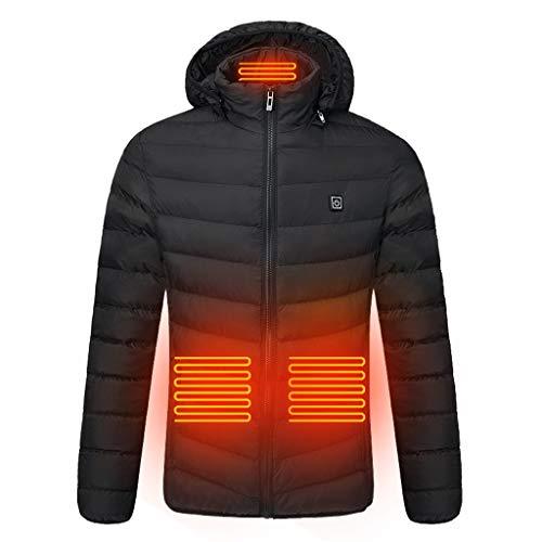 Leewa chamarra calentada con capucha para hombre, 4 calentadores, chaqueta de invierno con cierre de…