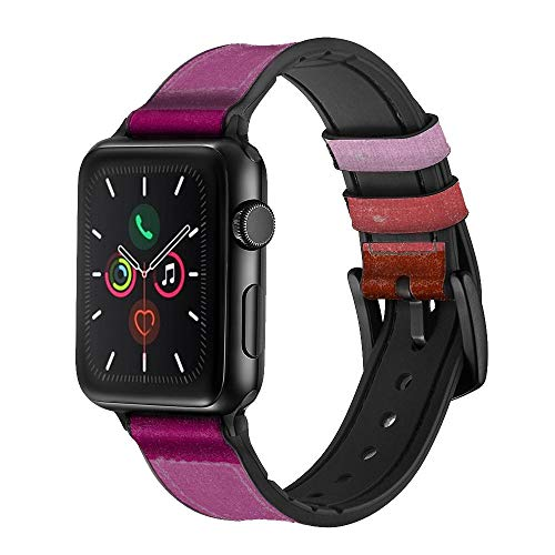 CA0768 LGBT Lesbian Flag Leather & Silicone Smart Watch Band Strap for Apple Watch iWatch Size 42mm/44mm