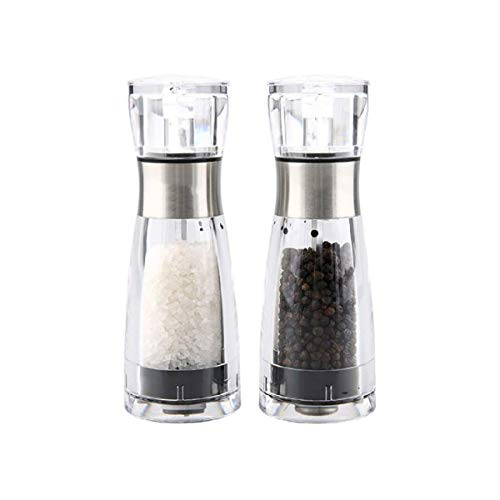 LTLWSH Molinillos de Sal y Pimienta, Manual Moledor de Sal y Pimienta con Acrílico Molino de Pimienta y Sal con Buen Agarre,Paquete Contiene 2