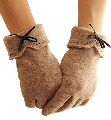 MAKFORT Touchscreen Handschuhe Damen Herbst Winter Damen Cashmere Handschuhe Winterhandschuhe Frauen Handschuhe Beige Rosa Handschuhe