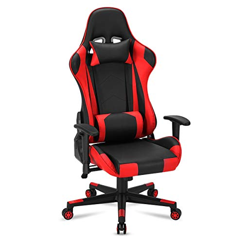 YOLENY Gaming Chair Computer Game Chair Office Chair Ergonomic High Back PC Desk Chair Height Adjustment Swivel Rocker with Headrest and Lumbar Support Lumbar Pillow,Red