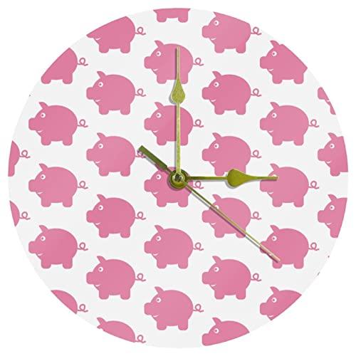 Yoliveya Reloj de pared redondo con diseño de hucha silencioso, fondo decorativo y silencioso para regalo en casa, oficina, cocina, guardería, sala de estar, dormitorio, 25 cm
