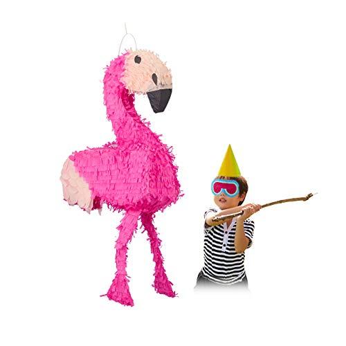 Relaxdays Pinata Flamingo, zum Aufhängen, Kinder, Mädchen, Geburtstag, zum Befüllen, HxBxT: 80 x 40 x 14 cm, rosa-pink