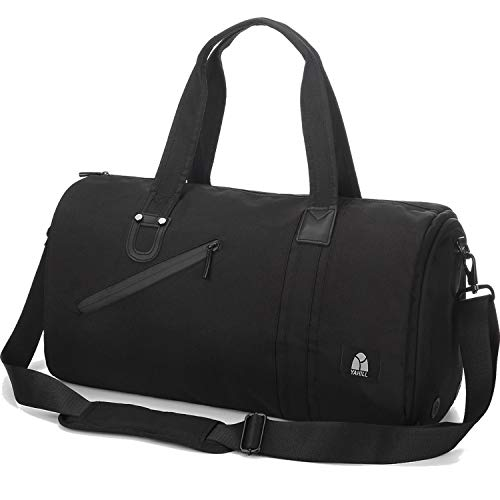 YAHILL Gym Sport Duffle Bag Waterproof Travel Duffel Bags for Women Men Weekender Overnight Bag with Shoes Compartment Black Grey