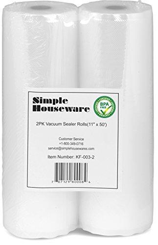 2 Pack - 11' x 50' Vacuum Sealer Rolls Food Storage Saver Commercial Grade Bag (total 100 feet)