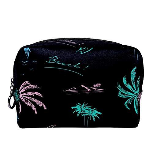 Bennigiry Trousse de toilette de voyage avec motif palmier coloré Couleur fluo
