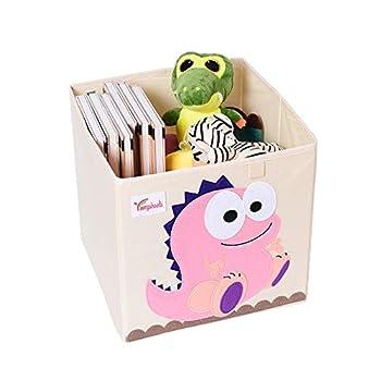 Canvas Cube Storage Bins-Cartoon Toy Storage Box for Baby Chest Basket Organizer Box  Dinosaur