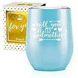 Onebttl Godmother Gifts, Stainless Steel Wine Tumbler for Best Friend, Aunt, Sister Godmother Godparent Proposal, Will You Be My Godmother Slogan-Blue