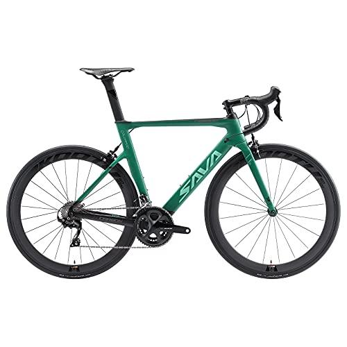 SAVADECK Bici da corsa in carbonio, HERD6.0 700C Bici da corsa con SHIMANO 105 R7000 22 velocità Continental Ultra pneumatico e Fizik sella leggera bicicletta per uomo donna (56cm, verde scuro)