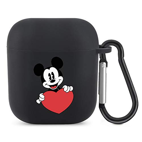 Mickey Mouse-Love AirPods Silicone Protective Cover (with Buckle) Protective Cover for AirPods 1/2 Generation Bluetooth Headset, The Best Gift for Men and Women