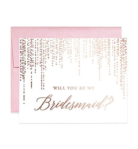 Rose Gold Foil Bridesmaid Proposal Cards Will You Be My Brides maid? Box Pack (Set of 5) Rosegold Foiled Five Wedding Engaged Bridal Party Cards Blush Pink Shimmer Metallic Envelopes CW0007-1