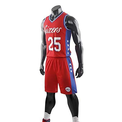 Ordioy Camiseta para Hombre, NBA Philadelphia 76Ers # 25 Ben Simmons Fans Camiseta De Baloncesto, Uniforme Transpirable Sin Mangas Chaleco Deportivo Top + Shorts Set,Rojo,5XL