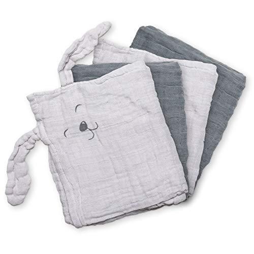 Pippi Spucktücher, Stoffwindeln, Mullwindeln 4er Set aus Bio Baumwolle (grau)