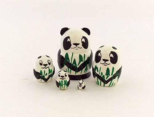 1.25' Tall Panda Mini Nesting Dolls Russian Hand Carved Hand Painted 5 Piece Matryoshka Set