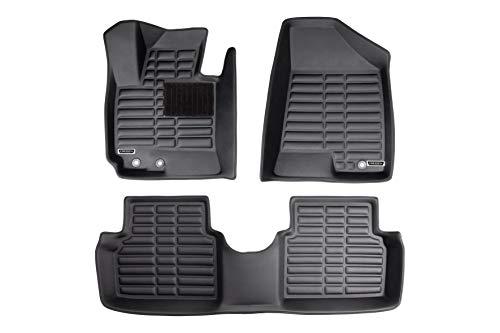 Origen Alfombra Específica 3D Para Kia Sportage R (2011-2016), Fabricadas en Pvc, Bordes Altos, Ajuste Perfecto, Negro, Pack de 3 Piezas