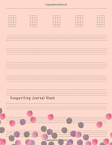 Songwriting Journal Blank: Composition and Songwriting Ukulele Music Song with Chord Boxes and Lyric Lines Tab Blank Notebook Manuscript Paper Journal ... for Beginners or Musician Sweet Color Cover