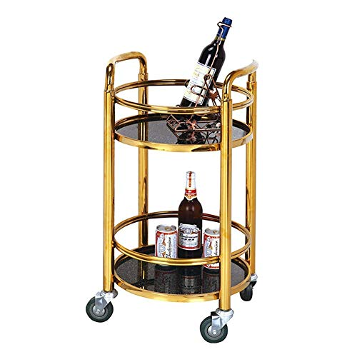 velocidad Kitchen Storage Trolley Serving Cart 2-Tier Drinks Utility Storage Rolling Cart Mobile Trolley Metal Frame Tempered Glass Rubber Wheel with Capacity 80 KgGold