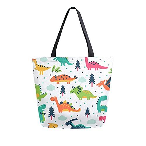 SunsetTrip - Bolsa de lona para mujer, diseño de dinosaurios de dibujos animados, bolsa de hombro reutilizable grande, bolsa de compras con bolsillo interior