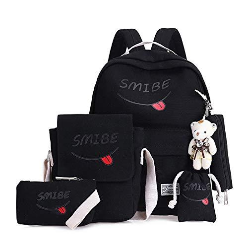 Schooltas creatieve 6-delig/set dierenprint rugzak vrouwen canvas schooltassen voor jongeren student schooltassen kinderen rugzak meisjes kinderen rugzak