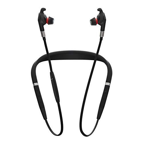 Jabra Evolve 75e UC Wireless In-Ear Kopfhörer – Unified Communications kompatible Earbuds mit Langer Akkulaufzeit – Vibrierender Nackenbügel und Busylight – Schwarz
