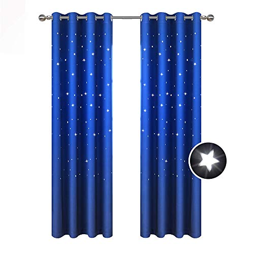 BUZIO A Pair Twinkle Star Kids Room Curtains, Thermal Insulated Blackout Curtains with Punched Out Stars for Space Themed Nursery and Bedroom (52 x 84 Inches, Royal Blue)