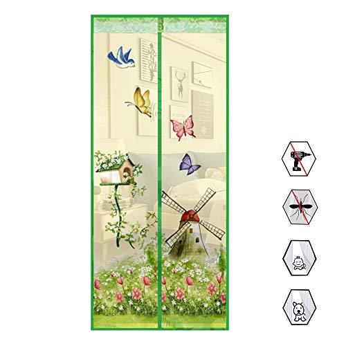 Preisvergleich Produktbild WSN Sommer Tür Bildschirm,  Mesh Vorhang Moskitonetz Windmühle Druck Tüll Mesh Bildschirm Garten Windmühle Magnetische Fliegen Insekt Tür Bildschirm mit Magneten, Grün, 100 * 210cm