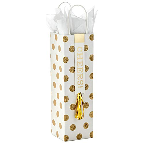 Hallmark Gold and White Bottle Gift Bag with Tissue Paper (Cheers) for Christmas, Hanukkah, Weddings, New Years, Graduations, Retirements