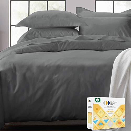 Dunkelgrauer Bettbezug für King-Size-Bett, Fadenzahl 400, 100 prozent Baumwolle, 3-teiliges Satin-Gewebe, weicher Luxus-Bettbezug & zwei Kissenbezüge, mit Knopfverschluss & Eckbändern