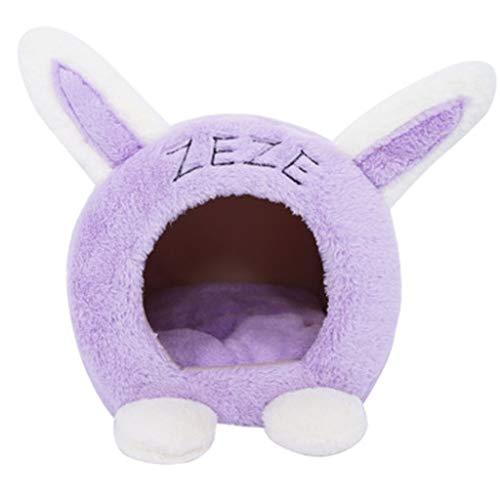 Susu Pet Kattenbakvulling Cat Bed Semi-gesloten Kat En Hond Kennel Kleine Honden En Honden Warm Te Houden (Color : Purple)