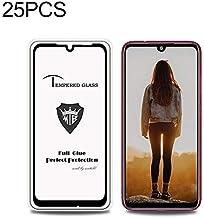 الهاتف المحمول خفف من الزجاج السينمائي 25 PCS Full Screen Full Glue Anti-fingerprint Tempered Glass Film for Xiaomi Redmi Note 7S (Black) خفف من الزجاج السينمائي (Color : Black)