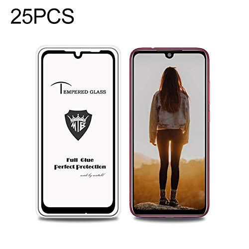 Gebalanceerde glasfilm Pengjiawei 25 STUKS volledige afbeelding volledige lijm anti-vingerafdruk gehard glas film voor Xiaomi Redmi Note 7S (zwart) (kleur: zwart)